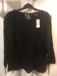 BROOKS BROTHERS 50% Wool Women's Knit Crewneck Sweater Black $129.50 Large