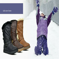 NEW Girls Classic Mid Snow Boots Buckle Unisex Winter Flat Heel Shoe Faux Fur US