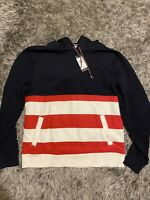 NEW Tommy Hilfiger Red Blue White Striped Cotton Blend Hoodie (Large)