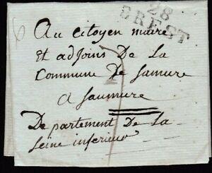 """FRANCE REPUBLICAN CALENDAR 1802 WRAPPER + FINE """"28 / BREST"""" HANDSTAMP TO SAUMUR"""