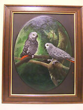 African Grey Parrots an original Painting on canvas- Framed