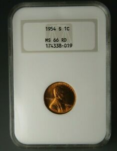 """1954-S Uncirculated Lincoln Cent Certified NGC MS 66 RED """"Old Fatty Holder"""""""