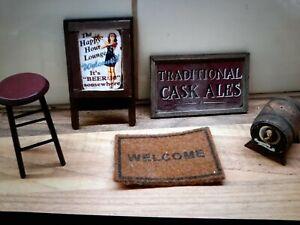 Dolls House 1/12th Scale Pub, Bar signs (1 a bit marked) barrel, mat, stool