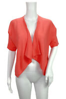 Jennifer Tyler Coral Open Front Short Sleeve Sweater Cardigan Size Small