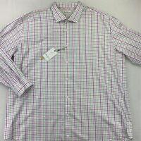 Robert Graham Mens Dress Shirt White Pink Plaid Classic Fit Tall 50/20 36/37 New