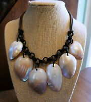 Antique South Pacific Oceanic Shell Dangle Necklace Cord Bakelite Button Clasp