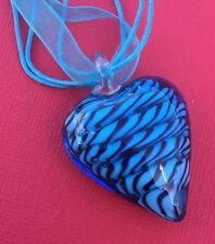 NEW! Blue Glass Swirl Heart 3D Pendant Ribbon Cord Necklace - Aussie Seller!!!