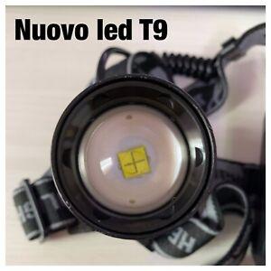 LAMPADA TORCIA FRONTALE TESTA RICARICABILE LED CREE T9 POTENTE