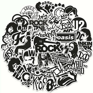 50 Rock Black White Stickers Heavy Metal Punk Band Music Guitar Car Decal UK NEW