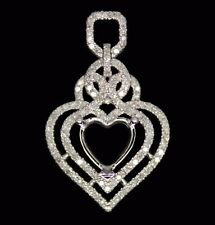 Heart 8mm Solid 14Kt White Gold 0.68CT Diamond Semi Mount Pendant