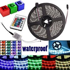 5M 5050 SMD RGB 300 LED Strip Light Multicolor Waterproof+24 Key Remote+DC Line