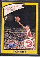 1990  SPUD WEBB - Kenner Starting Lineup Card - Atlanta Hawks - (Yellow)