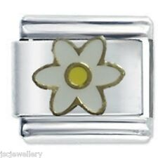 WHITE DAISY FLOWER Daisy Charms by JSC Fits Classic Size Italian Charm Bracelet