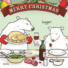 Merry Christmas Card with Wine & Dinner -Funny Christmas Card -Xmas Card -Bugger