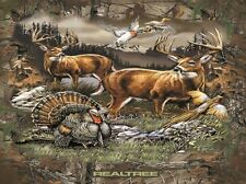 Realtree Deer Country Birds Hunting Wildlife Scenic Fleece Fabric Panel A505.31