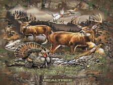 Realtree Deer Country Birds Hunting Wildlife Scenic Fleece Fabric Panel A505.31