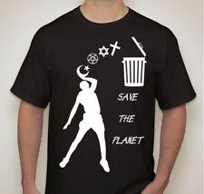 ATHEIST Save the planet Trash religion T-shirt t shirt