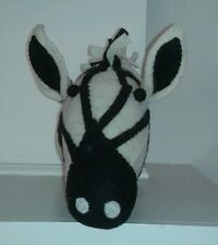 New Large Boiled Wool Zebra Head Decor Taxidermy Style Black White