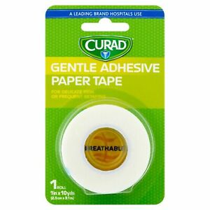 New Curad Gentle Adhesive Paper Medical Tape 1in x 10yds 1 Count USA