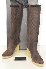 $1190 NEW GUCCI Guccissima High Boots Suede Dark Brown FUR GG Logo Platform 9.5