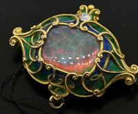 Marcus & Co. Art Nouveau 18K gold VS diamond/16 X 13mm Black opal enamel brooch
