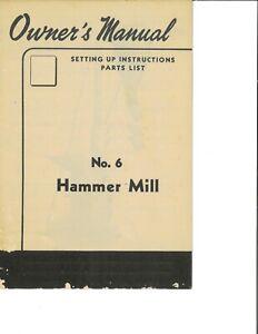 IH International Harvester McCormick 10-C Farmall PTO Belt Hammer Mill Manual