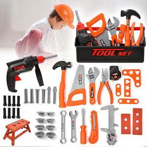 43Tlg. Kinder Werkzeugkoffer Spielzeug Handwerker Rollenspiel Werkzeugkasten Set