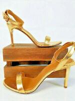 NIB Tory Burch Elana Sandal Heels Size US 9.5M Gold Mirror Craquelee ⭐️Free Ship