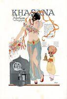 Parfum Khasana XL Reklame 1925 Schnabelschuh Harem Dame Diener 1001 Nacht Orient
