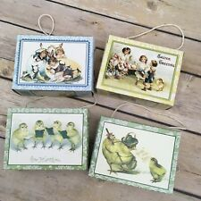 Lot of 4 Bethany Lowe Easter Postcard Box Ornaments Joyous Easter
