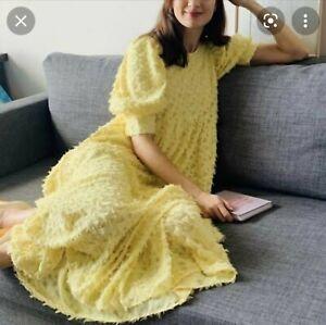 Zara yellow voluminous dress Sz S