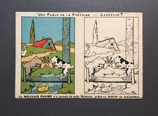Les Fables de La Fontaine par Benjamin Rabier série D. Carte double