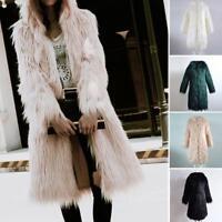 Womens Faux Fur Soft Winter Hooded Coat Outerwear Overcoat Long Jacket Parka