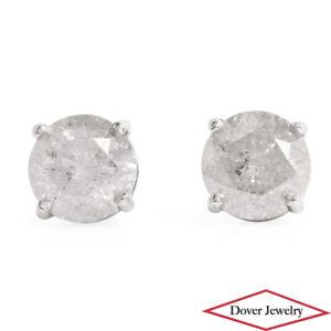 Estate 2.52ct Diamond Platinum Round Stud Earrings NR