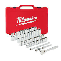 "Milwaukee 48-22-9004 50pc 1/4"" Metric & SAE Four Flat™ Socket Set w/ Ratchet"
