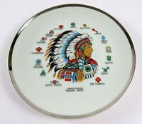 """Vintage Indian Symbols Collector's Plate, Silver Glazed Rim, 7 1/2"""", Japan"""