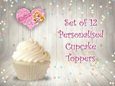 12 Personalised Sleeping Beauty Princess Heart Cupcake Toppers Birthday Party