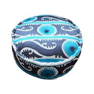 Bombay Duck - Suzani Embroidered Cotton Pouff/Stool - Turquoise/Grey - 60x20cms