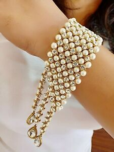 Indian Traditional Hand Jewelry Bridal Kundan And Pearl Bracelet for Women