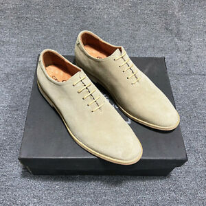 Casual Men Suede Real Leather Shoes Pointy Toe Biker Business Dress Formal Shoes