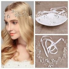Women Wedding Rhinestone Pearl Bride Wire Party Hair Garland Headband hairpiece