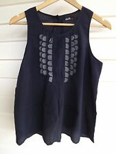 Dotti Women's Sleeveless Blue Singlet Top with Buttons on Back - Size 10