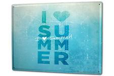 Tin Sign XXL Retro I heart summer