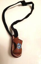 Nos Vintage 1970s Hippy Flower Sandal Leather Strap Choker Collar Necklace Small