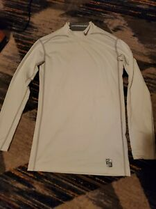 NEW Mens NIKE PRO COMBAT HYPERWARM White Compression Long Sleeve Shirt - Large
