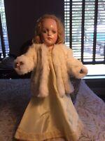 "Vintage 1930s R&B Debu'teen 14"" Composition Doll In Original Dress & Fur Jacket"