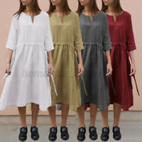 Womens Cotton V Neck Baggy Midi Dress Summer Beach Casual Loose Holiday Sundress