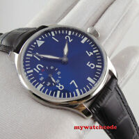 new 44mm parnis blue dial luminous marks hand winding 6497 mens watch P1257