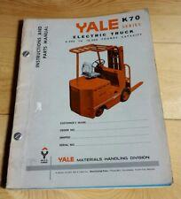 Vtg. 1965 Yale Material Handling K70 Lift Truck Forklift Parts Service Manual