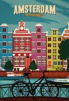 Amsterdam Netherlands Blechschild Schild gewölbt Metal Tin Sign 20 x 30 cm